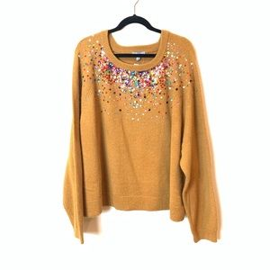 ASOS Sweaters - ASOS: glittered mustard loose fit sweater